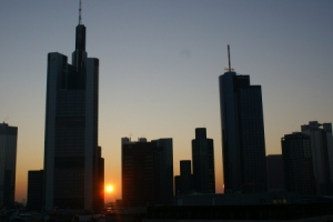 Sunset over Frankfurt Skyline