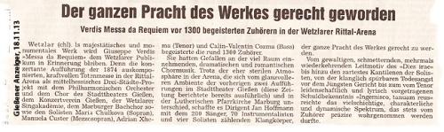 Verdi Requiem at Rittal Arena Wetzar - Gießener Anzeige Nov 18, 2013